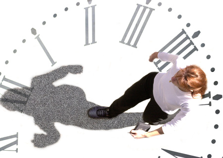 Woman walking on clock, montage