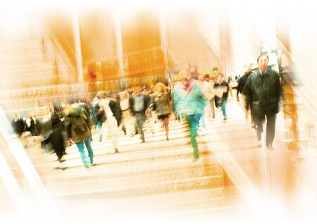 Crowd crossing on crosswalk, montage LANG_EVOIMAGES