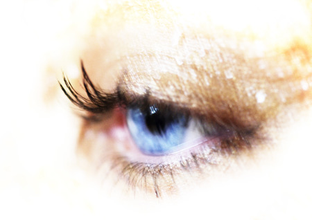 Womans blue eye, extreme close-up