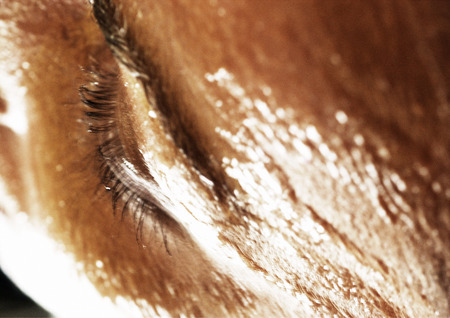 seduce: Womans eye, high angle view, close-up