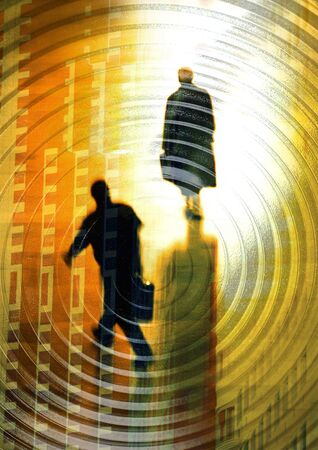burned out: Businessmen walking and woman standing in spiral, montage