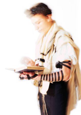 Jewish man praying, blurry