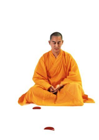 Buddhist monk meditating