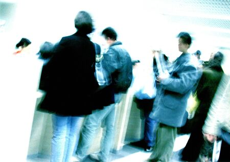 People standing in line, blurred LANG_EVOIMAGES