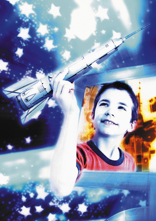 Boy emerging from computer screen, holding space rocket, digital composite
