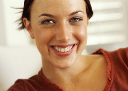 joyous: Woman smiling, close-up, portrait