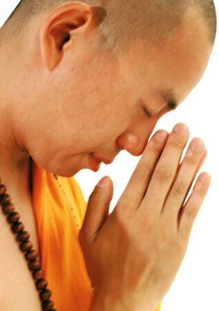 Buddhistischer meditierender Mönch, Seitenansicht, Nahaufnahme