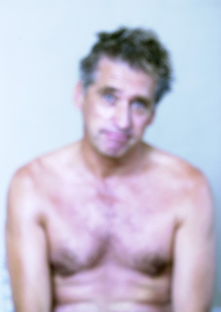 Mature man, bare chested, close-up, portrait, blurred
