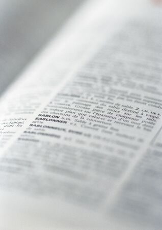 encyclopedic: Page in a dictionary, close-up LANG_EVOIMAGES