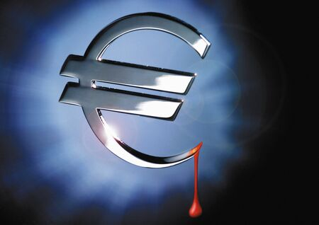 Silver euro sign dripping with blood
