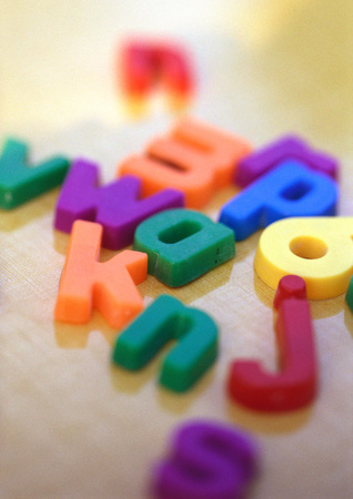 Plastic letters, close-up
