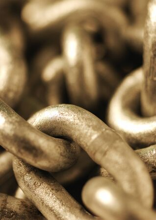 Metal chain, extreme close-up