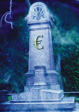 stele: Euro sign on a grave stone