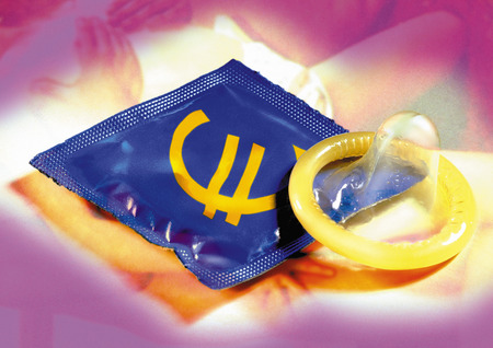 Euro sign printed on condom wrapper