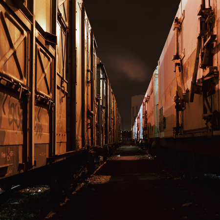 lugubrious: Freight trains at night, close-up