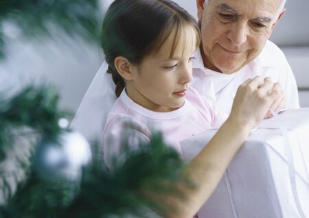 Girl and grandfather opening package, Christmas tree branches in foreground LANG_EVOIMAGES