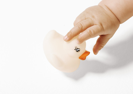curiousness: Babys hand picking up rubber duck