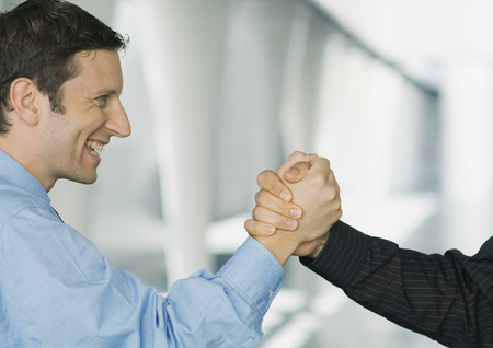 Businessmen shaking hands, cropped view