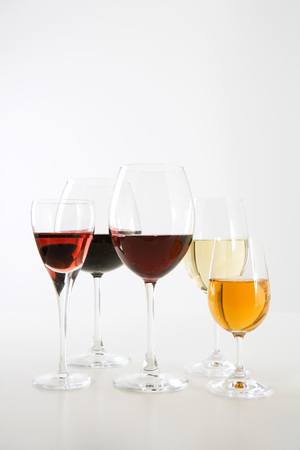 Assorted wines in glasses