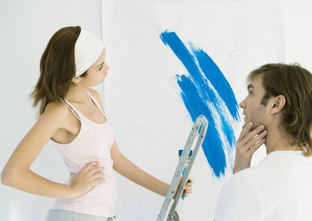 Couple deciding on paint color