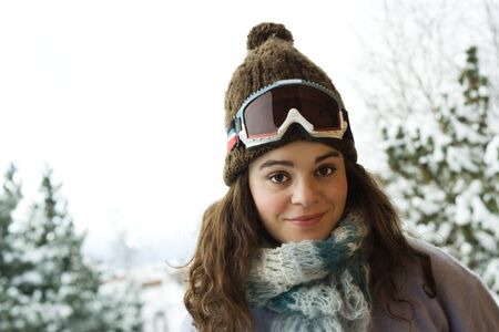 Young woman in winter clothing, portrait