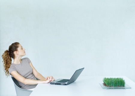 distractions: Woman sitting at table with laptop LANG_EVOIMAGES