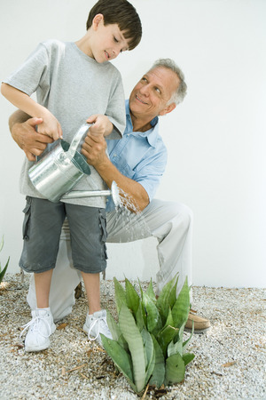 Boy watering outdoor plant with grandfather, both smiling