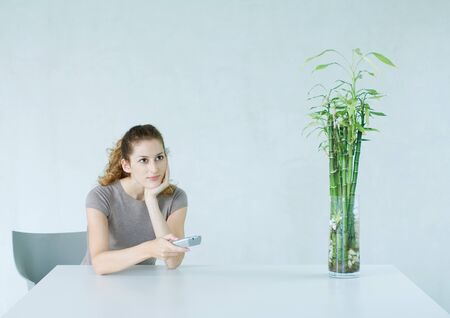 Woman sitting at table, pointing remote control LANG_EVOIMAGES