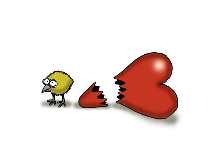 Chick standing next to broken heart