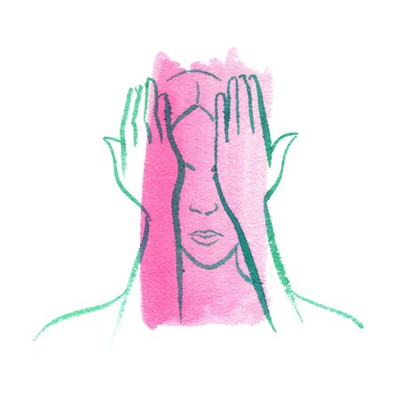 Woman with hands over eyes