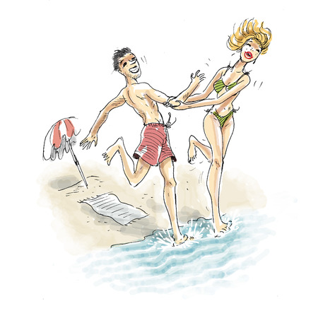 Woman pulling man into water on beach