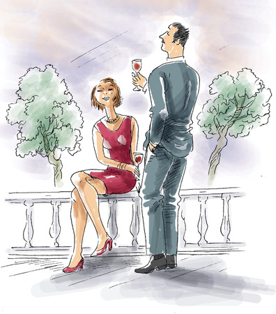 Couple drinking wine on terrace