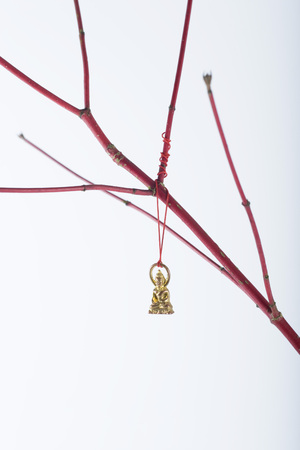 Miniature Buddha ornament hanging from bare branch LANG_EVOIMAGES