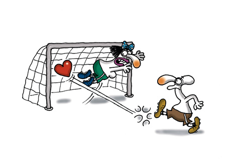 Man making soccer goal with heart