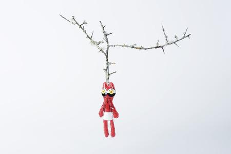 Strange doll hanging on bare branch
