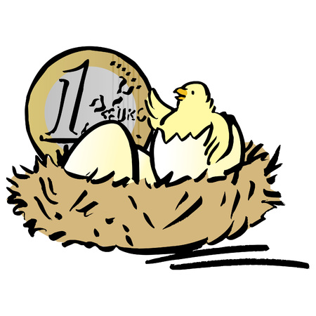 Nest with chick and Euro coin LANG_EVOIMAGES
