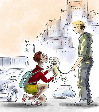 Man walking dog, woman kissing dog
