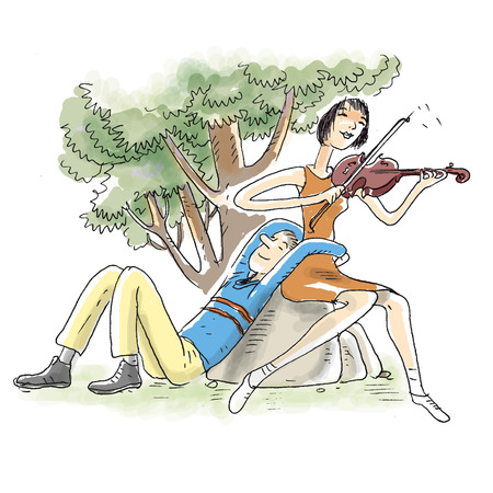 flirtation: Couple on rock, woman playing violin LANG_EVOIMAGES