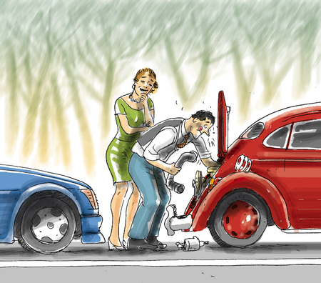 Man fixing car while woman watches LANG_EVOIMAGES