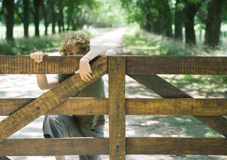 curiousness: Boy climbing fence