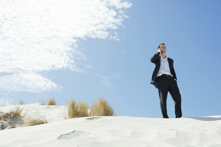 Businessman standing on sand dune, using cell phone, low angle view