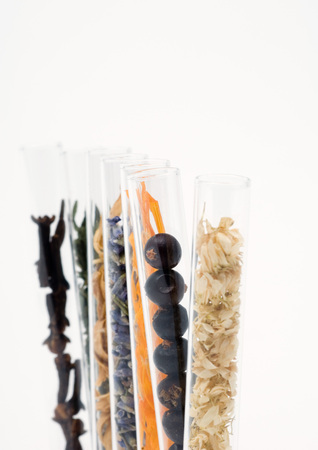 holistic view: Test tubes containing dried flowers, berries and spices