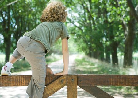 Boy climbing fence, rear view