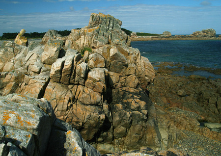 panoramas: Ile de Brehat, Brittany, France, coastal rock formations LANG_EVOIMAGES