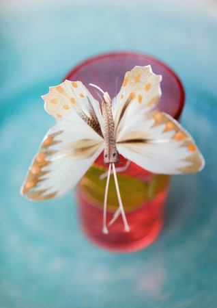 Fake butterfly on edge of glass