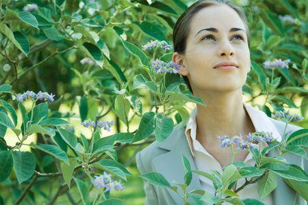 percepción: Businesswoman standing in vegetation, looking up LANG_EVOIMAGES