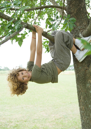 Boy hanging from tree LANG_EVOIMAGES