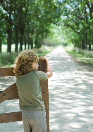 Boy leaning on gate, facing dirt road, rear view