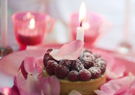 Raspberry pastry on plate decorated with rose petals and candles LANG_EVOIMAGES