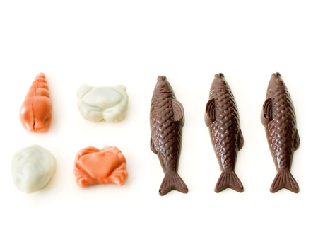 Chocolate fish and sea creatures